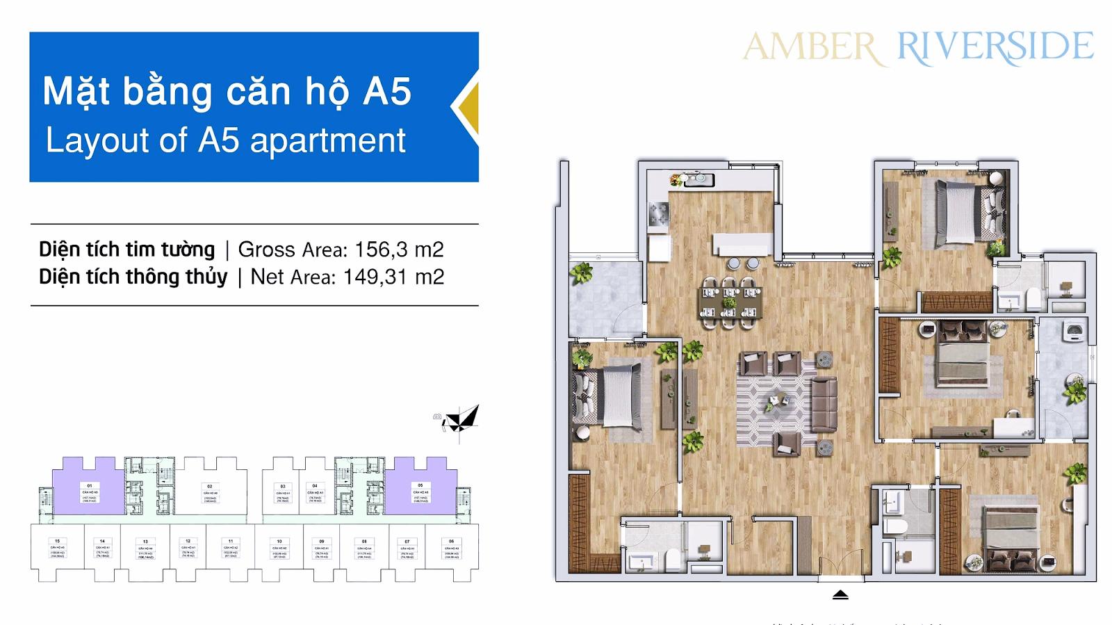Thiết kế căn hộ A5 dự án 622 Minh Khai