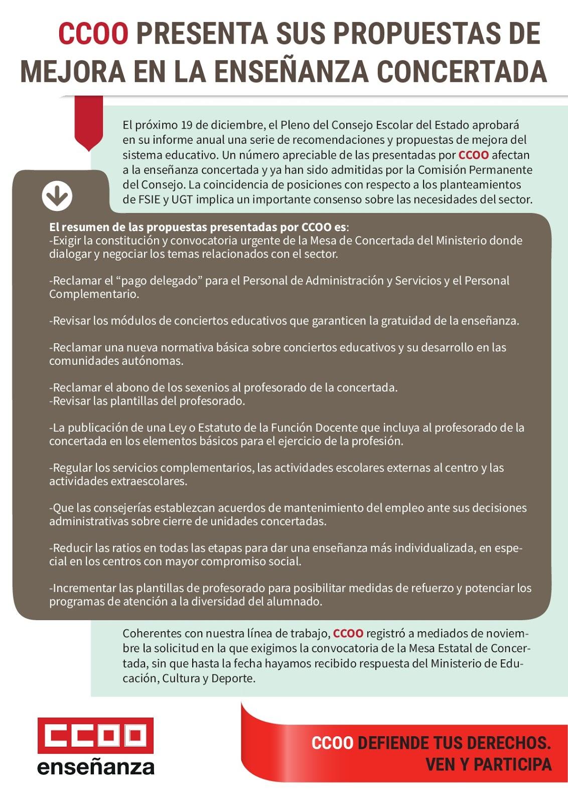 CCOO Enseñanza privada de la FE de Canarias: Propuestas en la ...
