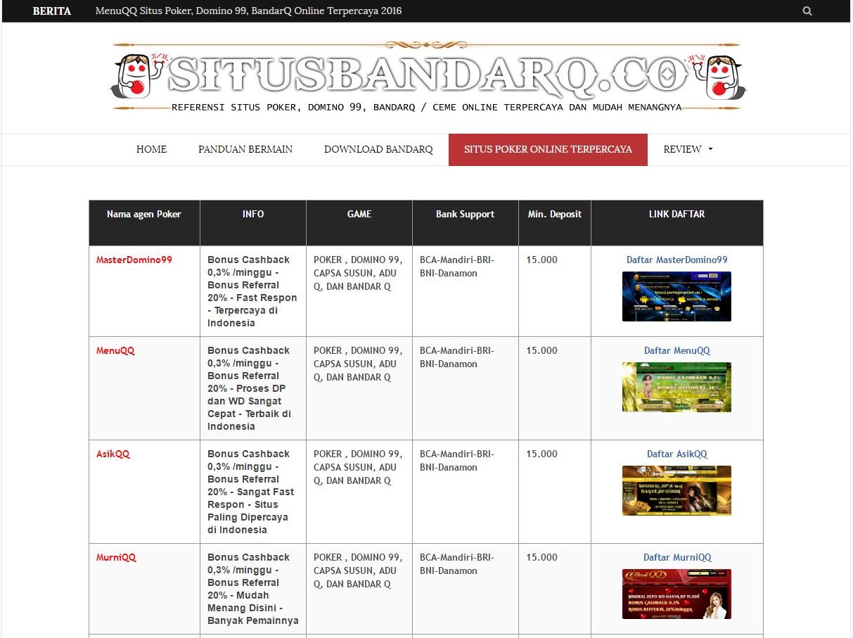 Daftar situs poker domino online