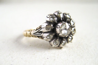 vintage flower shaped engagement ring