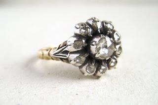 vintage flower shaped engagement ring