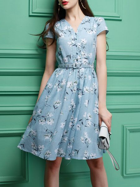 Short Sleeve Printed Elegant Midi Dress With Belt