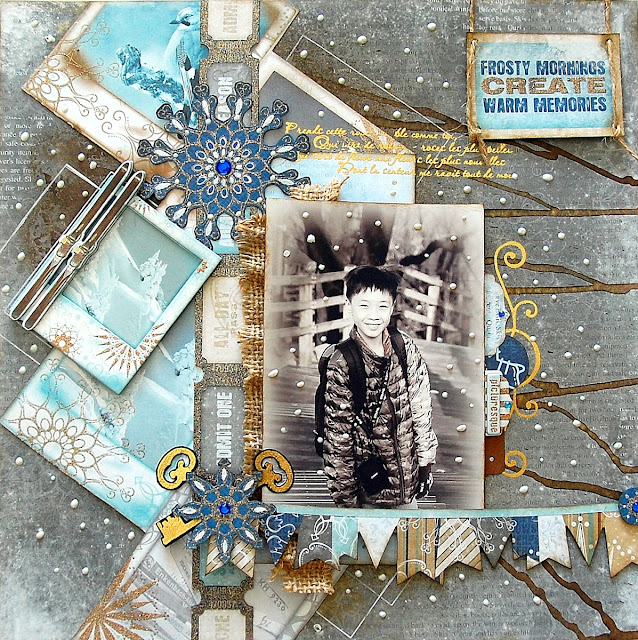 Frosty Morning Layout by Irene Tan using BoBunny Whiteout collection