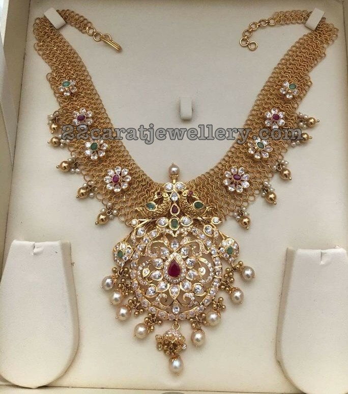 Fancy Necklace with Flower Motifs