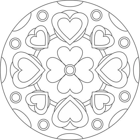 Tranh tô màu hình tròn trang trí họa tiết trái tim