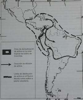 Mapa de la distribucion de la achira en latinoamérica