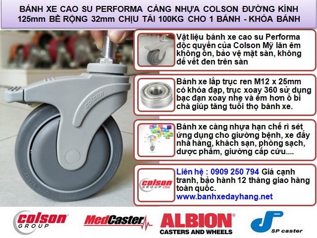 Bánh xe cao su ty ren có khóa Colson Mỹ phi 125 | STO-5854-448B RK4 banhxedaycolson.com