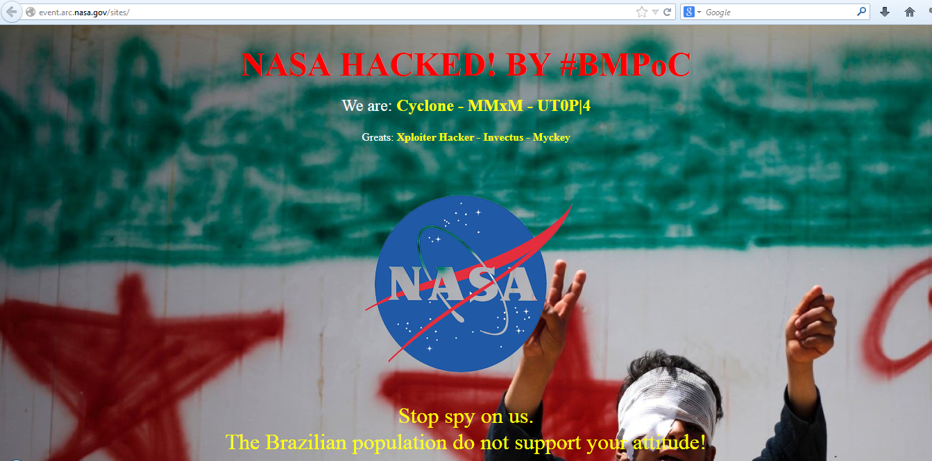 Nasa 14 Official Sub Domains Hacked And Defaced Cyber