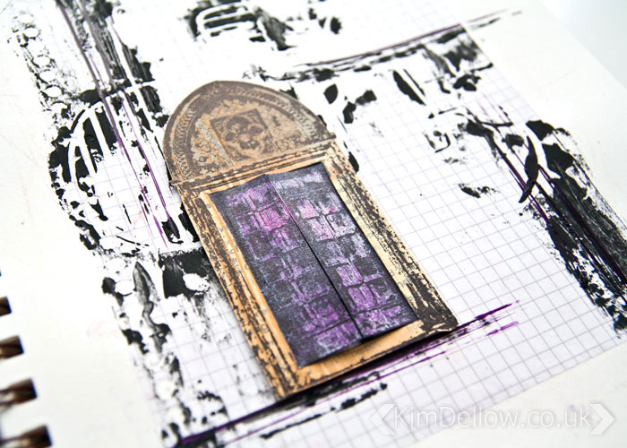 Close up of the little door on the grungy but cute interactive Art journal page by Kim Dellow
