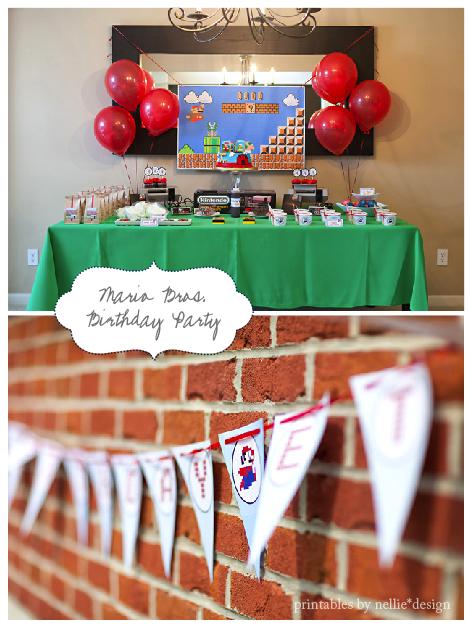 Nellie Design Vintage Super Mario Bros Birthday Party