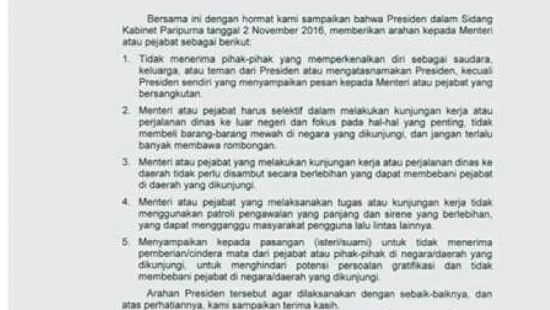 Surat Arahan Presiden Jokowi Soal Kunjungan Kerja Pejabat