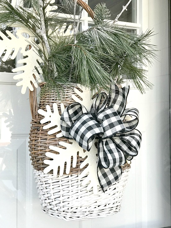 Basket of greens with snowflake and bow