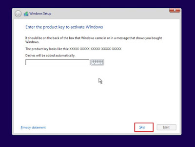 skip windows activation key