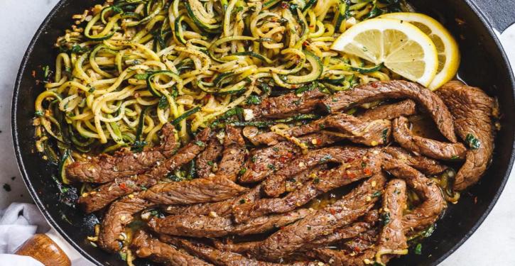 Delicious 15-minute Recipe: Butter, Lemon And Garlic Steak With Zucchini Spaghetti