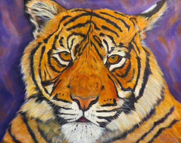 Tiger portrait in oils