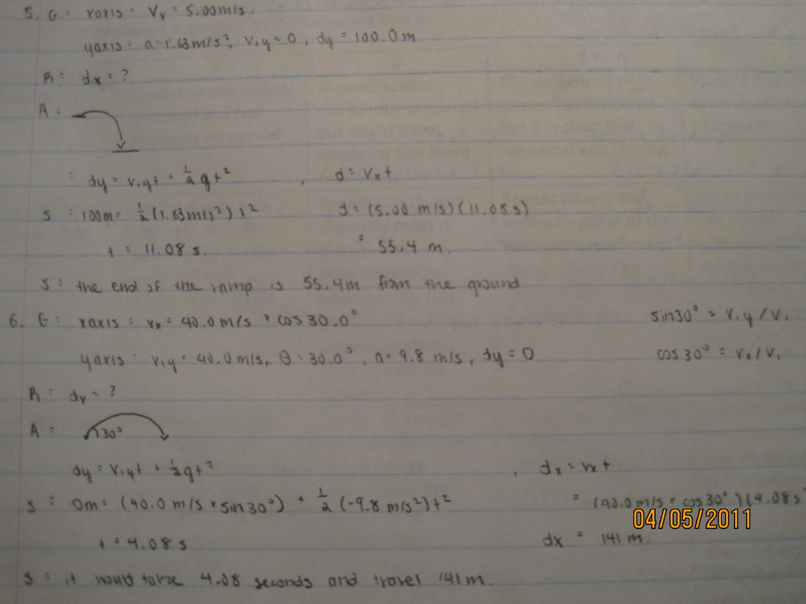 All Things Physics Projectile Motion Worksheet Answers