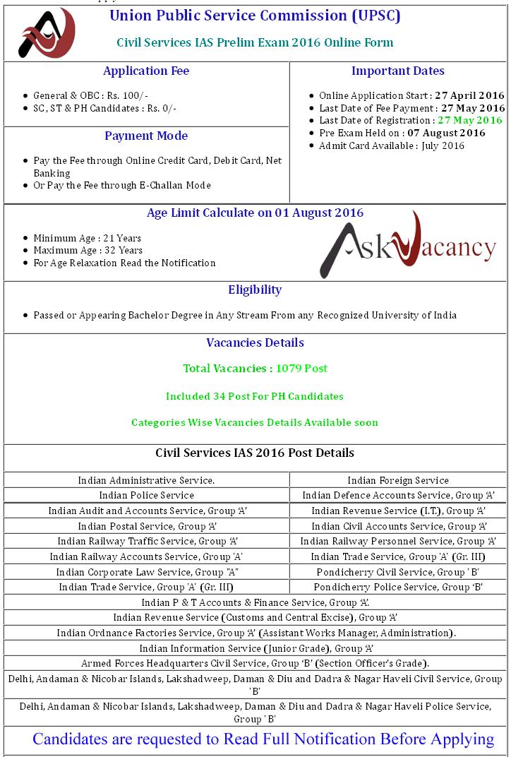 UPSC Civil Service IAS Prelim Exam Vacancy Admit Card August2016 – Civil Service Exam Application Form