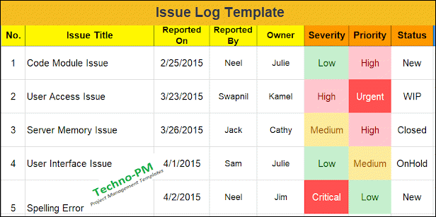 issue log, project issue log, Issue Log Template