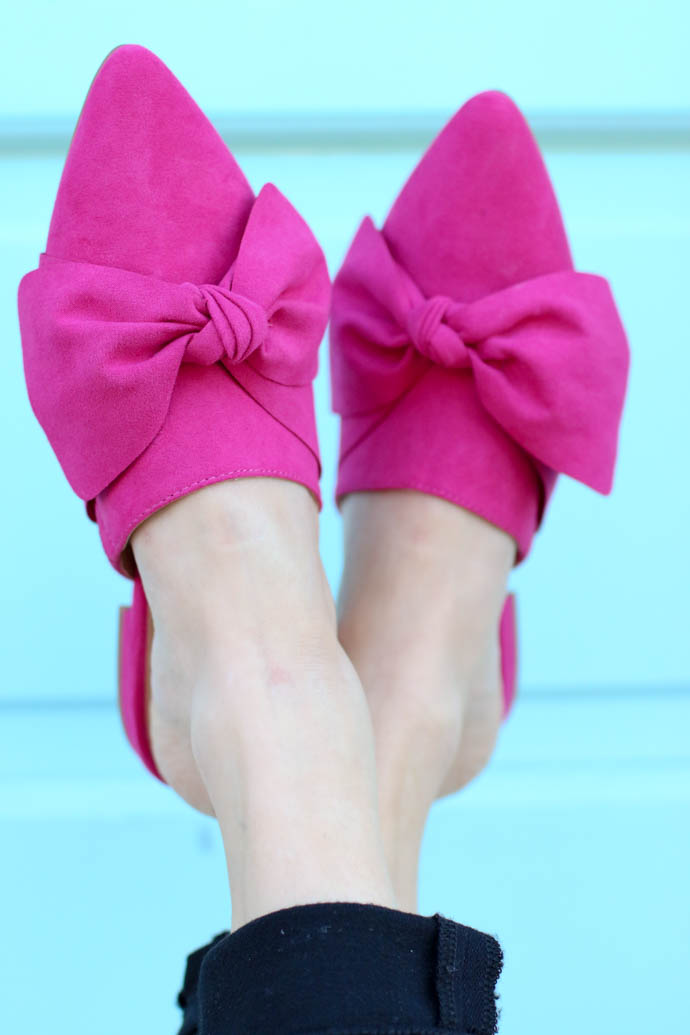 hot pink bow flats