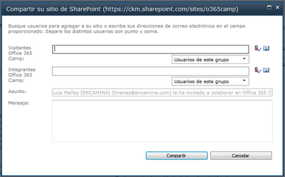 invitar a usuario externo en SharePoint on-line