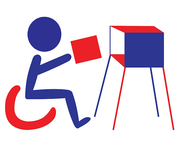 Simple graphic of a person in a wheelchair, similar to the handicap symbol, holding a rectangular ballot about to place it in the ballot booth. The person is blue. The wheelchair and ballot are red. The side of the ballot booth is blue, the top is red, and the interior is white. It has red and blue legs.