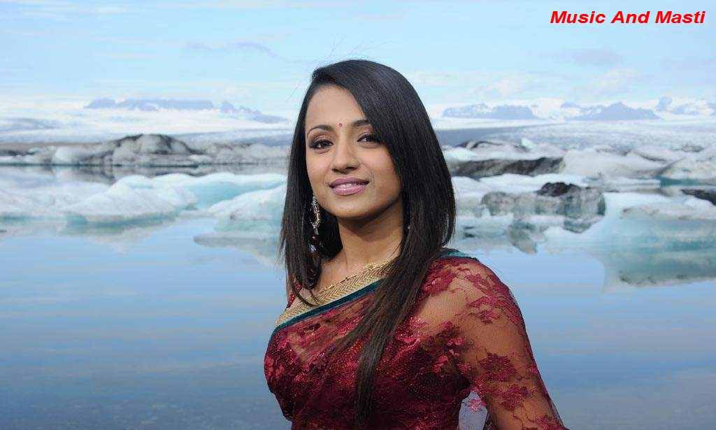 Music And Masti: Trisha In Transparent Red Saree