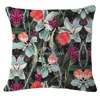 Beddinginn-Tropical Flowers and Foliage Design Hand-Painted Linen Throw Pillowcases