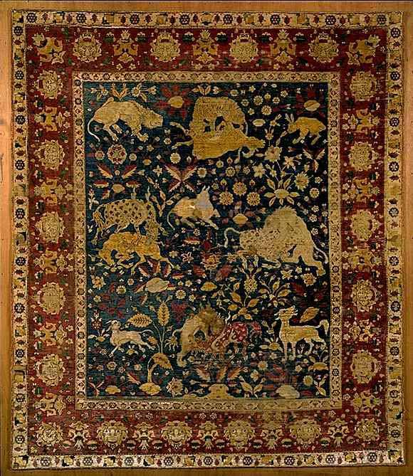 Animal Carpets: Silk Kashan Animal Carpet in Louvre Museum