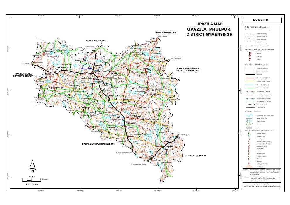 Phulpur Upazila Map Mymensingh District Bangladesh