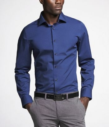 f28edbc6 1MX Fitted Stretch Cotton Shirt with Spread Collar: Express also offers  this style in extra slim and modern (think looser, with more room to  breathe) fits.