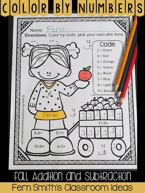 Your students will adore these Fall Color Your Answer worksheets while learning and reviewing important skills at the same time! You will love the no prep, print and go ease of these printables. As always, answer keys are included. Color By Code Fall Addition and Subtraction Facts, A Color Your Answers Activity for Fall. Color By Numbers Fall Addition and Subtraction Facts - Color Your Answers Printables for some Fall Math Fun in your classroom!  10 adorable Fall Themed Color by Code Math Addition and Subtraction Facts Printables for Fall and Autumn.