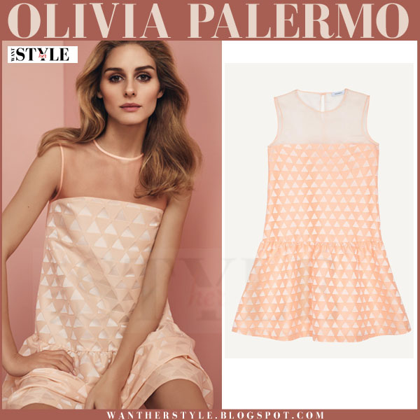 Olivia Palermo in peach jacquard mini dress max&co ss 2016 collection what she wore