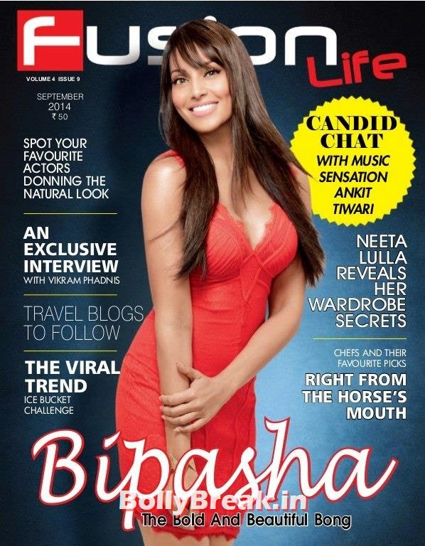 , Bipasha Basu on Cover of Fusion Lite Magazine in Red Dress