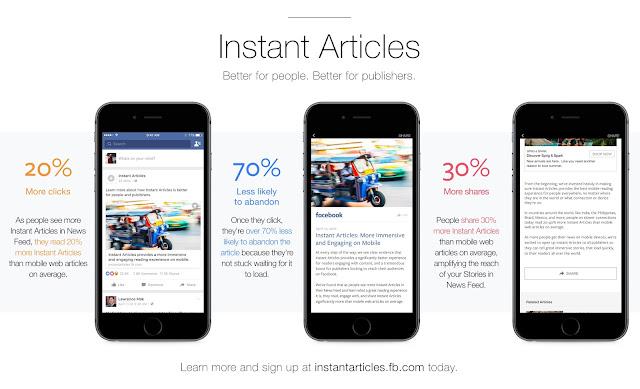 Facebook hoje abriu seus artigos instantâneas para todos