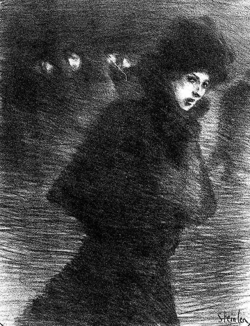 Theophile-Alexandre Steinlen drawing of a walking woman in winter