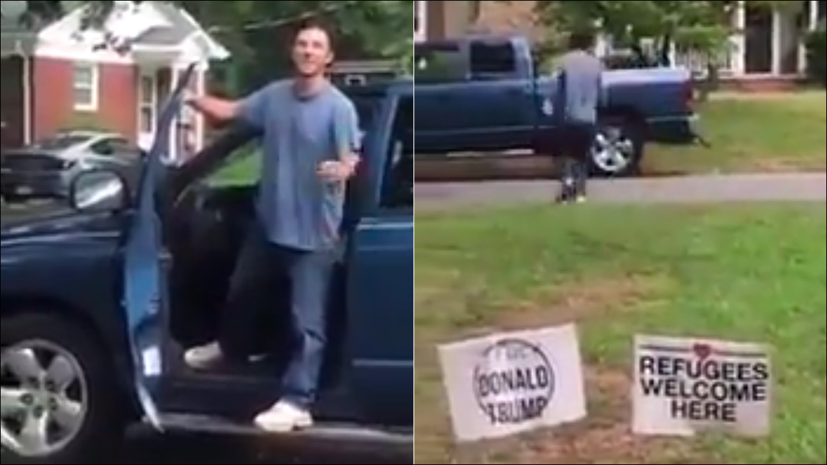 So you've got a problem with our anti-Trump lawn sign…