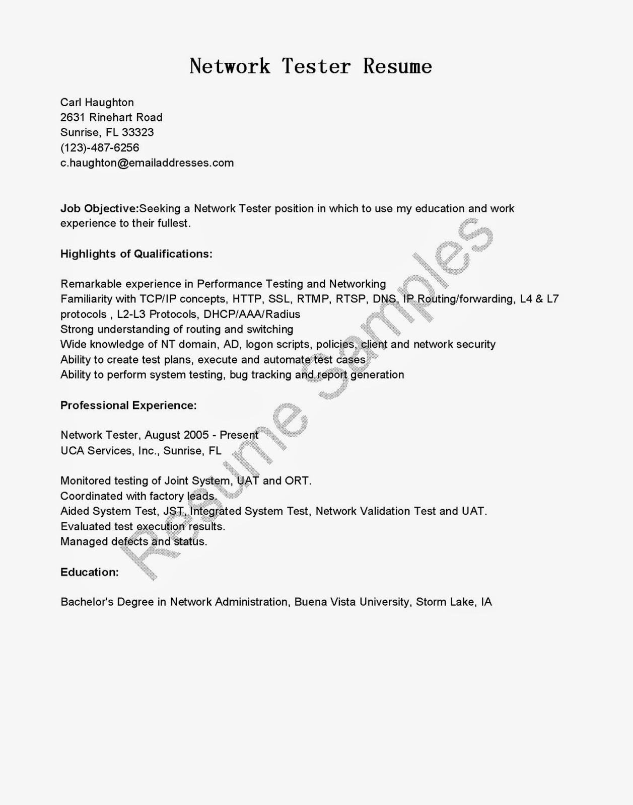 Resume Samples Network Tester Resume Sample