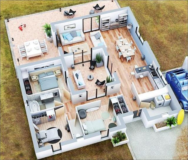 Planta de casa com área aberta e garagem