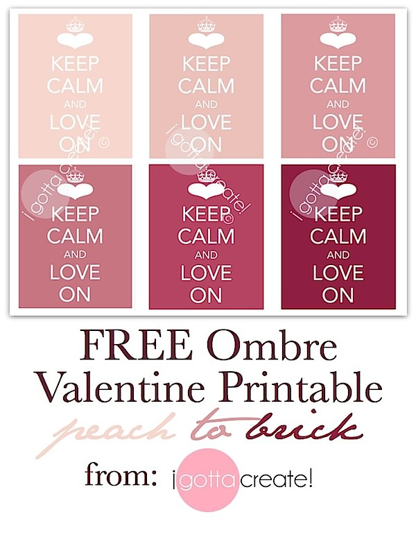 Love these ombre Keep Calm and Love On printables for your #valentine, #wedding or more! | from I Gotta Create!