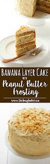 Banana Cake with Fluffy Peanut Butter Frosting www.thebusybaker.ca