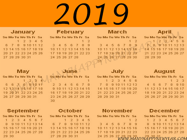 2019 calendar psd