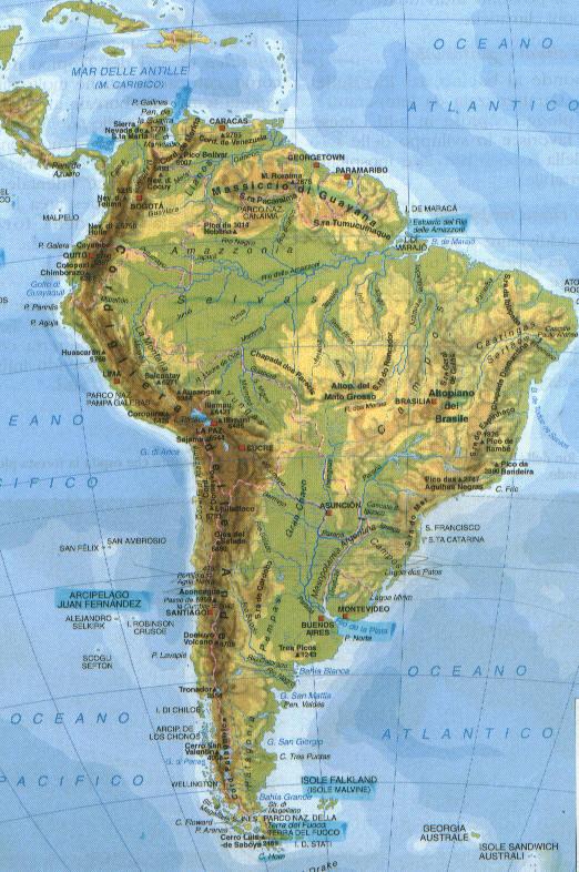 Cartina Muta America Del Sud Fisica