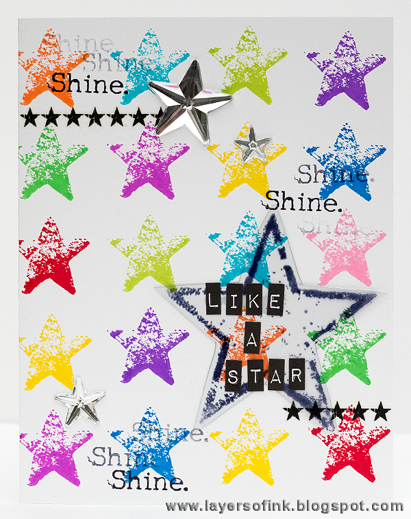 Layers of ink - Shine like a star card by Anna-Karin with stamps by Dina Wakley and Ranger Dye Inks.
