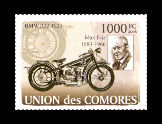 BMW R32 and Max Friz in a stamp