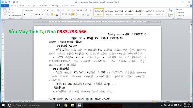 File word bị lỗi font chữ