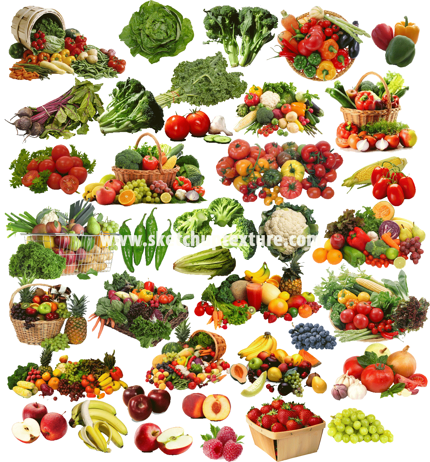 SKETCHUP TEXTURE: CUT OUT VEGETABLES AND FRUITS PACK