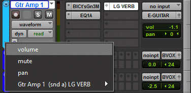 Automation Enable button Menu in Pro Tools Plug-in