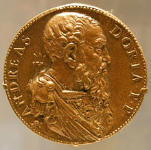 A medal bearing the image of Andrea Doria, who continued to sail in his '80s
