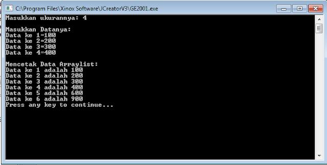 contoh arraylist pada java