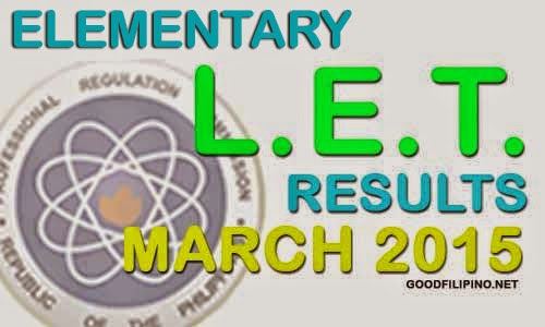 LET Results 2015 - L.E.T Elementary Level Passers (March 2015)